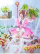 Card Captor Sakura Pink-white Dress Cosplay Costume Sweet Lolita Dress Set