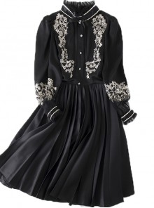 Black Retro Embroidery Standing Collar Classic Lolita Long Sleeve Dress