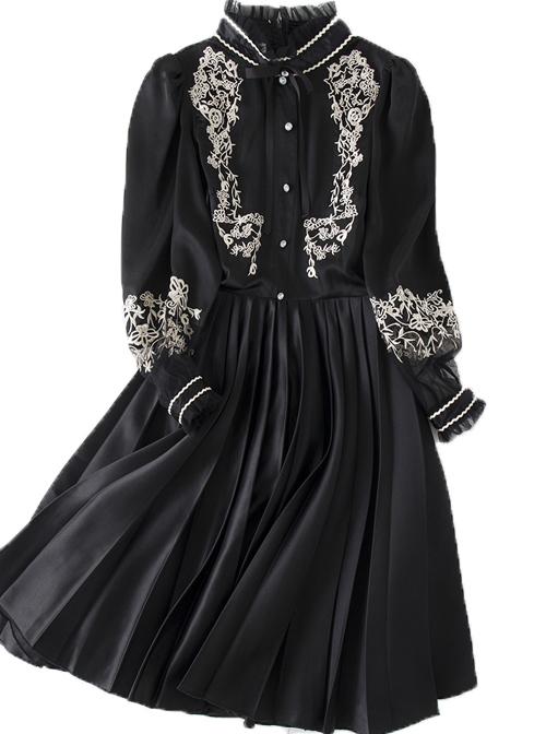 Black Retro Embroidery Standing Collar Classic Lolita Long Sleeve Dress