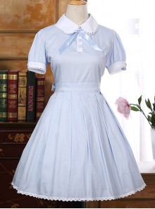 Lapel Bowknot School Lolita Short Sleeve Dress