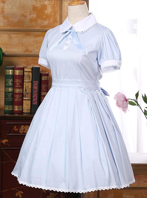 Lapel Bowknot School Lolita Short Sleeve Dress