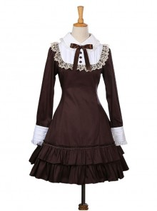 Retro Bowknot Long Sleeves Ruffles Classic Lolita Dress