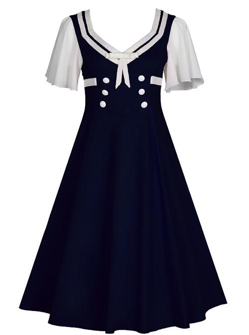 Short Sleeve Bowknot Hit Color School Lolita Dress