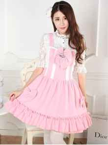 Autumn And Winter Pink Cute Bowknot Sweet Lolita Dress