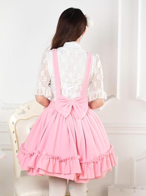 Autumn And Winter Pink Cute Bowknot Sweet Lolita Dress
