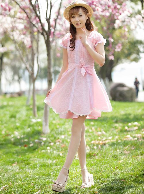 Square-neck Cute Sweet Lolita Short Sleeve Dress