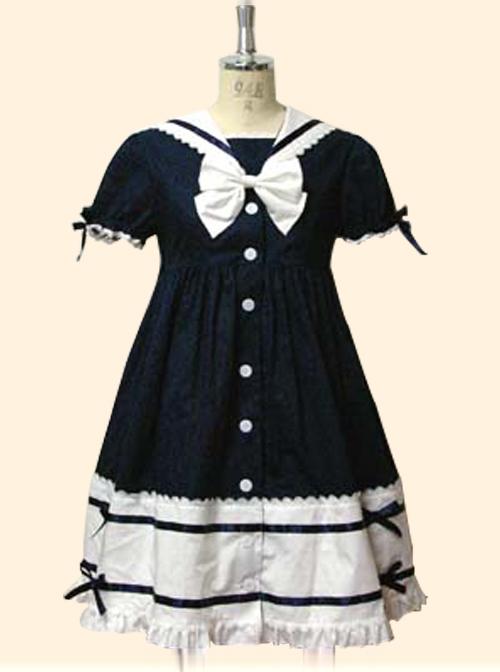 Cute Navy Collar Short Sleeve School Lolita Dress