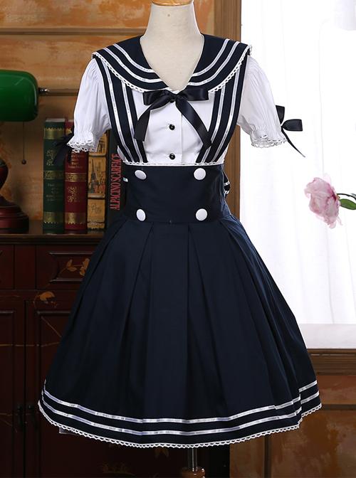 Navy Style Short Sleeve School Lolita Dress Set