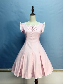 Elegant White Lace Pink Classic Lolita Flying Sleeve Dress