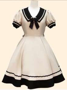 Navy Collar Bowknot School Lolita Short Sleeve Dress
