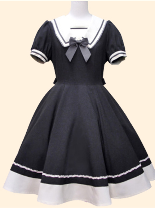 Navy Collar Bowknot School Lolita Short Sleeve Dress
