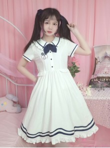 White Lapel Short Sleeve School Lolita Dress