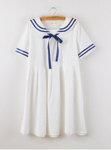 Navy Style Loose Short Sleeve School Lolita Dress