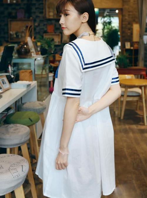 Navy Style Loose Short Sleeve School Lolita Dress