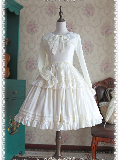 Chiffon White Lolita Skirt Long Sleeves Shirt