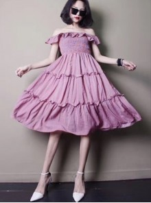 Concise Ruffles Classic Lolita Strapless Dress