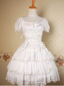 White Multi-storey Ruffles Lace-up Sweet Lolita Dress