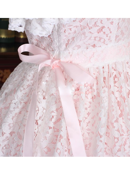 Pink Cotton Short Sleeves White Lace Classic Lolita Dress