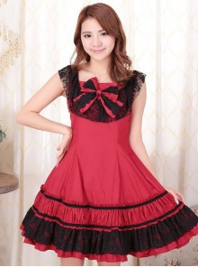 Red Sleeveless Lace Classic Lolita Dress