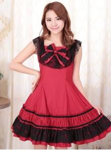 Red Sleeveless Lace Classic Lolita Dress