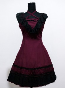 Sweet Purplish Red Sleeveless Lace Lolita Dress