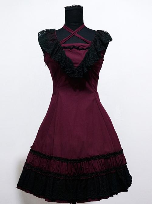 Sweet Purplish Red Sleeveless Lace Lolita Dress