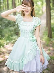 Mint Green Short Sleeve Bowknot Classic Lolita Dress