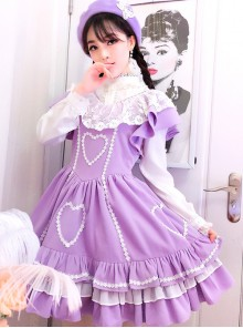Purple Flying Sleeve Lace Sweet Lolita Dress