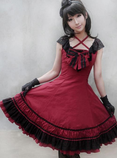 Sleeveless Bowknot Lace Classic Lolita Dress