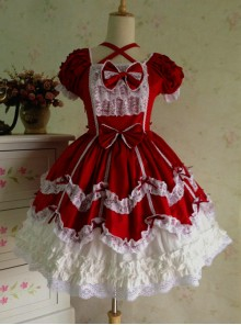 Lace Red Cotton Sweet Lolita Short Sleeves Dress