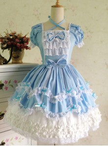 Light Blue Bowknot Lace Sweet Lolita Short Sleeves Dress