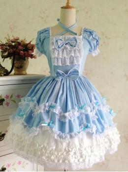 Light Blue Bowknot Lace Sweet Lolita Short Sleeves Dress
