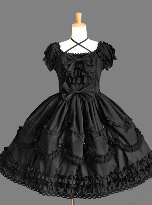 Cotton Bowknot Lace Sweet Lolita Short Sleeves Dress