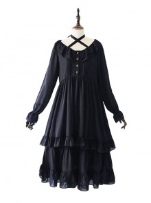 Pure Black Ruffles Gothic Lolita Long Sleeves Dress