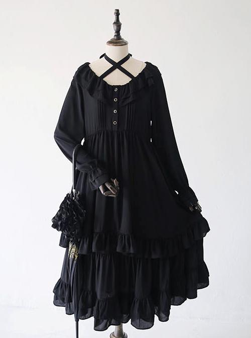 Pure Black Ruffles Gothic Lolita Long Sleeves Dress
