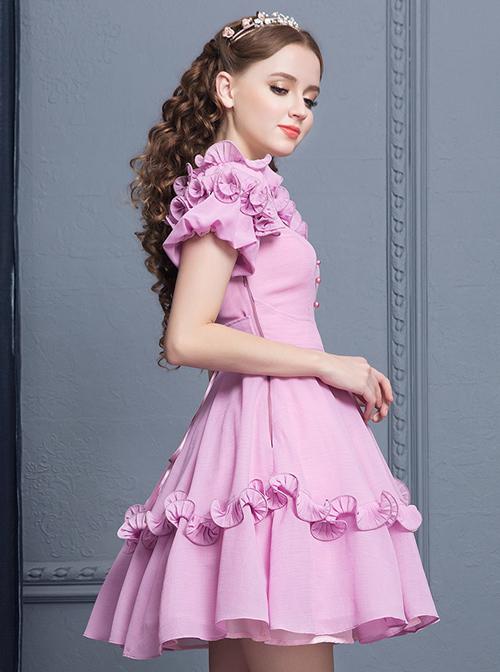 Purple Agaric Lace Elegant Collar Classic Lolita Short Sleeves Dress