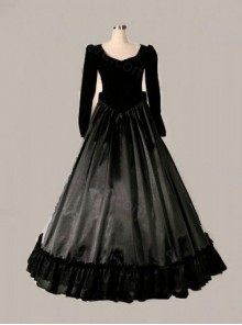 Elegant Black Bowknot Long Sleeve Victorian Gothic Lolita Prom Dress