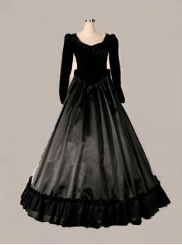 Elegant Black Bowknot Long Sleeve Victorian Gothic Lolita Prom Dress