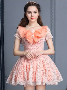Pink Short Sleeve Bind Strap Lace Cute Sweet Lolita Dress