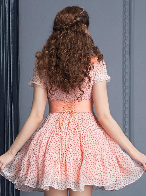 Pink Short Sleeve Bind Strap Lace Cute Sweet Lolita Dress