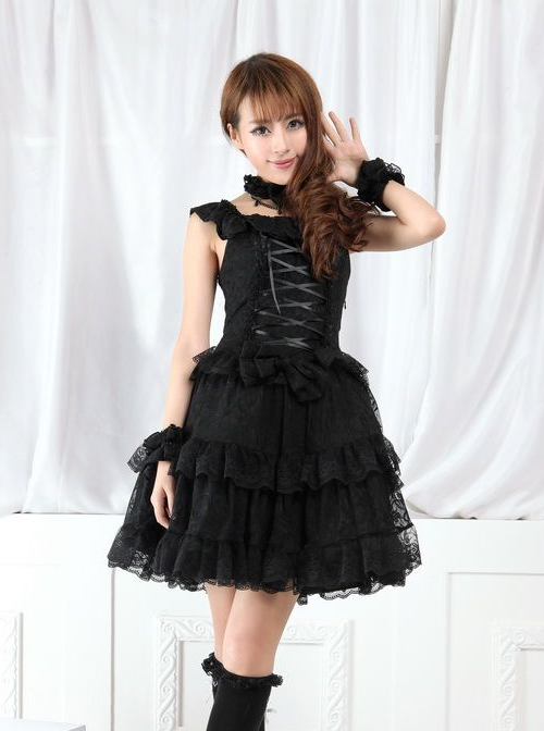 Red And Black Lace Gothic Lolita Sleeveless Dress