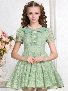 Green Cute Doll Collar Bowknot Sweet Lolita Short Sleeve Dress