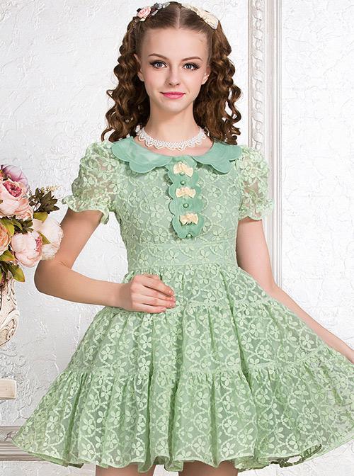 Green Cute Doll Collar Bowknot Sweet Lolita Short Sleeve Dress