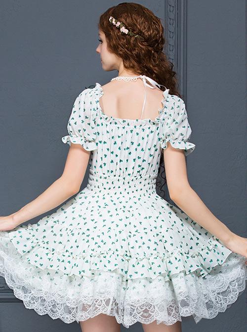 White Chiffon Green Bowknot Printing Sweet Lolita Short Sleeve Dress