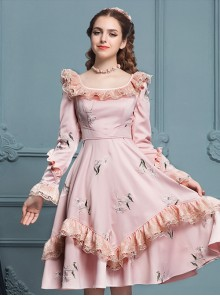 Retro Pink Ruffles Elegant Classic Lolita Long Sleeve Dress