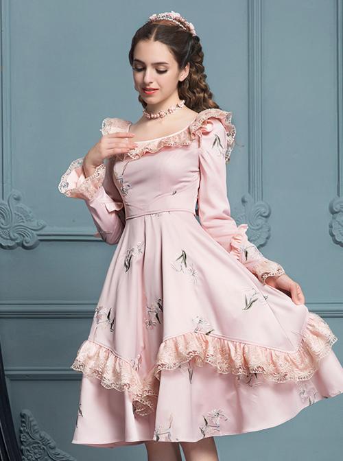 Retro Pink Ruffles Elegant Classic Lolita Long Sleeve Dress