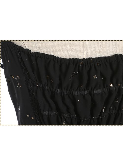 Constellation Black Short Sleeves Stylish Gothic Lolita Sling Dress