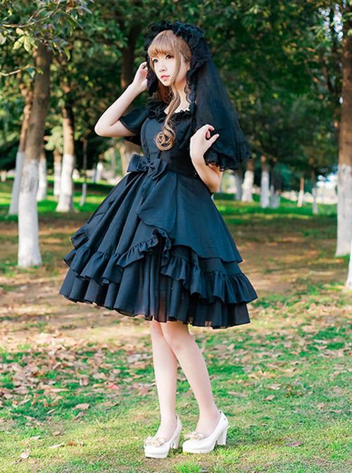 Short Sleeve Ruffles Elegant High Waist Classic Lolita Dress