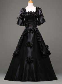 Black Retro Victorian Stereoscopic Flower Decoration Gothic Lolita Prom Dress