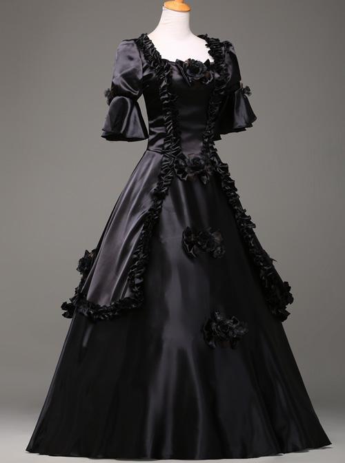 Black Retro Victorian Stereoscopic Flower Decoration Gothic Lolita Prom Dress